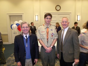Eagle Scout Philip Trevisan (center) with Princeton Cemetery Chairman, Gary Patteson and Allen Olsen